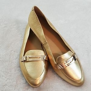 Coach Ruthie Sz 6.5 Gold Leather Flats